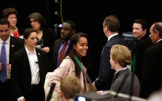 CHICAGO, ILLINOIS - APRIL 07: Malia Obama (C) attends 