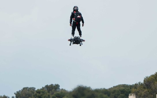 MARSEILLE, FRANCE - APRIL 30:  (FRANCE OUT)  The inventor of a flying machine, Fly Board Air, Franky Zapata uses his creation on April 30, 2016 in Marseille, France.  The Flyboard Air, with its company Zapata Racing (ZR), gives its first public demonstrat