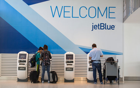 passengers checking-in at jet blue terminal