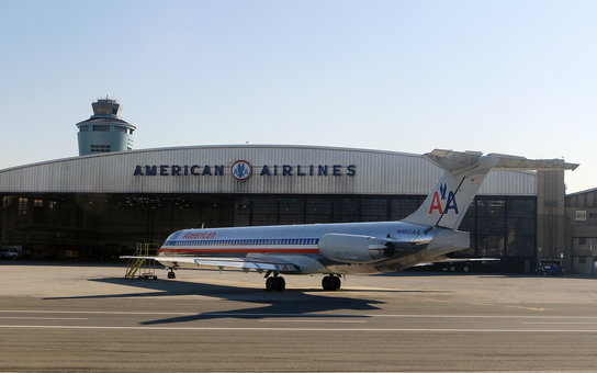 American Airlines plane near hanger