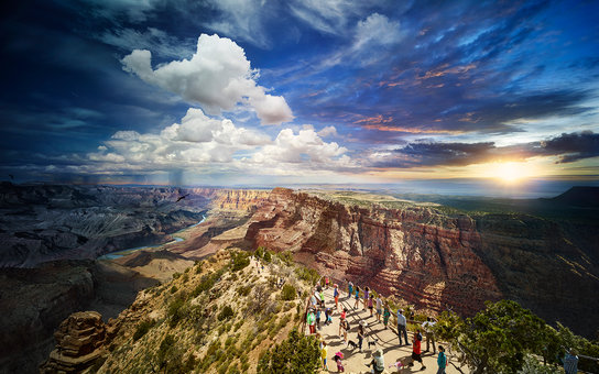 Grand Canyon photographed from day to night