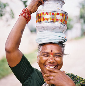 woman, Hindu, festival, laughing, Hyderabad, India