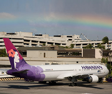 Hawaiian Airlines aircraft at the terminal
