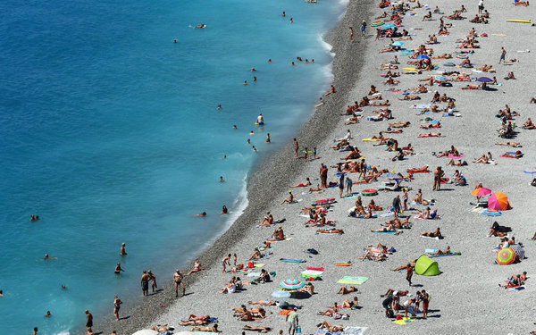 Beachgoers on the French Riviera.